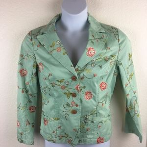 Coldwater Creek Mint and Rose Embroidered Jacket P